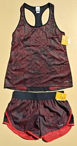 NEW C9 Champion Womens Woven Duo Dry Athletic Tank & Shorts Set Red Black Size S