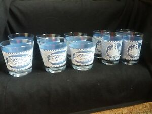 Vintage Royal Currier & Ives Beverage Juice & On The Rocks Glasses Lot of 10
