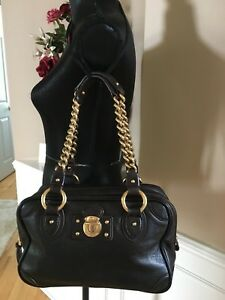 MARC JACOBS Black Textured Leather Chunky Chain Strap Shoulder Bag Satchel - EUC