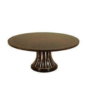 71 inch Modern Rosewood and Ebony Round Pedestal Dining Table