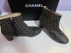 Chanel Chain-Link Ankle Boots Black Leather Chanel Size: 8 IT 38 - GREAT BOOTS