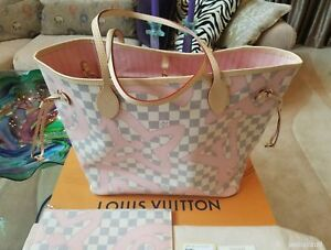 AUTH NWT LOUIS VUITTON DAMIER AZUR TAHITIENNE NEVERFULL MM BAG TOTE BAG POCHETTE