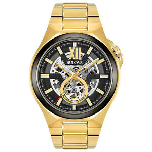 Bulova Men's Automatic Black Skeleton Dial Gold-Tone Bracelet 46mm Watch 98A178