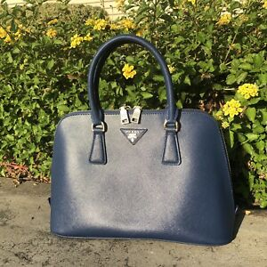 PRADA Saffiano Leather Lux Small Promenade Dome Tote Blue
