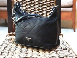 Prada Black Quilted Nylon Purse Handbag Satchel