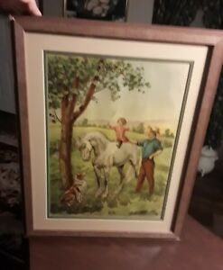 Double Matted Wood Frame 1911 Boss of the Farm Print by James Lee 20 34x16 34