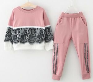 Girls Clothing T-shirt Pants Set Cotton Outfit Sports  Use For Autumn Winter New