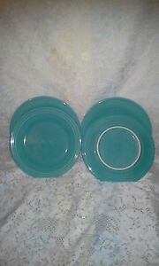 4 DINNER PLATES set lot turquoise blue HOMER LAUGHLIN FIESTA WARE 10.5