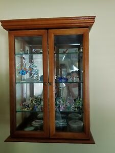 Curio Cabinet  Hanging Display Case wood glass shelves and sides mirrored back