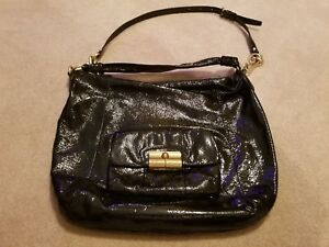 COACH•handbag•G1078-16014•Black Patent Leather•2 Straps•Large