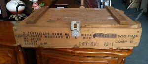 Vintage Military Wooden Ammo CrateBox Ammunition For Cannon (Crate Only)