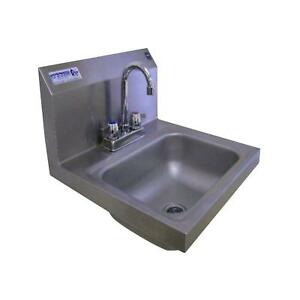 Single Bowl Kitchen Sink 2 Hole 17 x 17 x 13 in. Stainless Steel Wall Mount New
