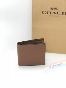 NWT Coach F74991 Men Compact ID 3 IN 1 Wallet Bifold Leather Dark Saddle $175