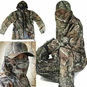 Mens New Bionic Camouflage Hunting Clothes Leaf Waterproof Jacket + Pants Suits