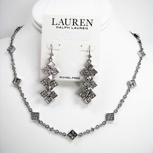 Ralph Lauren Square Crystal Necklace & Chandelier Earrings Set Silver Tone