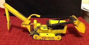 Vintage Tonka Yellow Pressed Steel #534 Trencher Construction Front Loader 1960s