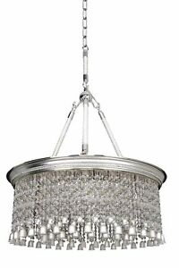 Clare 6 Light PendantChandelier in Two Tone Silver with Firenze Clear Crystal