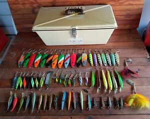 Tackle Mate Box with 63 Fishing Lures RAPALA REBEL SALMON SPOONS LUHR JENSEN