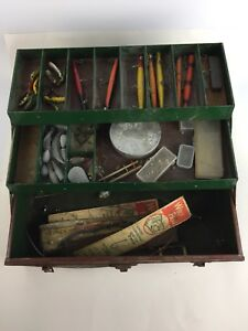 Vintage Metal Fishing Tackle Box With Old Wooden Fishing Top Water Lures