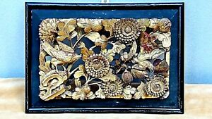ANTIQUE CHINESE WOOD GILT LACQUERED PIERCED RELIEF BIRDSFLOWERS TEMPLE PANEL #1 $235.00