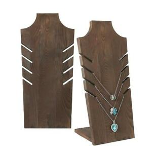 Set of 2 Natural Wood Multiple Necklace Bust Display Stand Brown - Holds up...