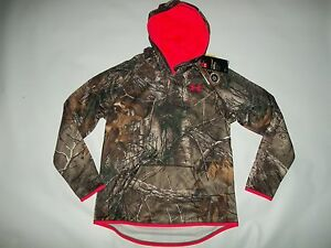 UNDER ARMOUR Realtree Camo UA Storm Hooded Hunting Hoodie SHIRT Girls MEDIUM NEW