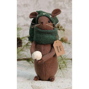Country TYLER MOUSE DOLL Rustic Primitive Farmhouse Christmas Winter Snowball