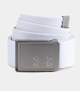 Mens Under Armour Golf Webbing Belt 2.0 White One Size Fits All 1305487 100