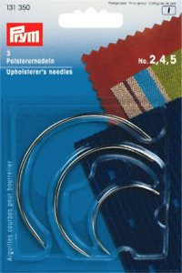 3 x PRYM UPHOLSTERY CURVED HAND SEWING NEEDLES Size No. 2 4 5 131350 GBP 3.19