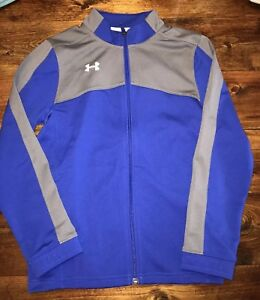 NWT Under Armour Boys Blue Full Zip Hoodie Jacket Youth Medium Loose Fit Poly