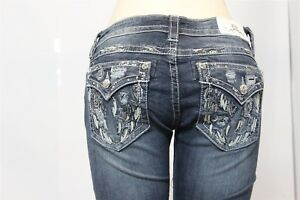 Women's MISS ME Signature Boot Stretch Jean - Size 26/31 - Style JE8797 - Bling