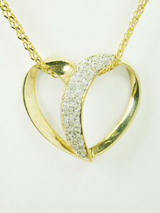 1553 SALE Diamond Floating Heart Pendant & 18 in Necklace 14k Solid Yellow Gold