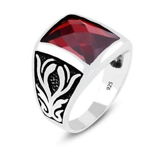 Turkish Ottoman Motif Handmade Men's Ring Red Cubic Zirconia Stone 925...