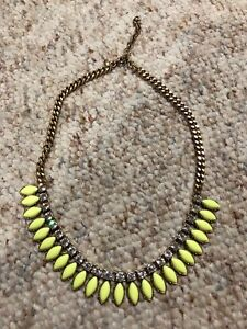 J.CREW STATEMENT YELLOW CLEAR BEADED STATEMENT DANGLE DROP NECKLACE ADJUSTABLE