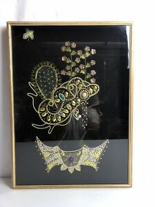 Costume Jewelry Art Woman Hat Necklace Shadow Box Display Case