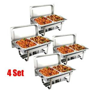 4X Chafing Dish Buffet Set Caterer Food Warmer Tray Dinner Serving Wedding Venue