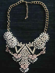 Crystal & Gold statement bib necklace Dannijo Erickson Beamon Lulu Frost style
