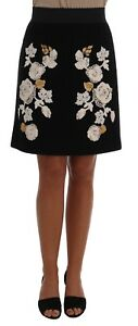 NEW $2100 DOLCE & GABBANA Skirt Black Floral Ricamo Gold Brooch IT40  US6  S