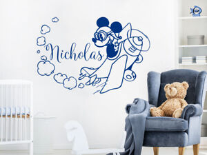 Boys Name Mickey Mouse Airplane Wall Stickers. Сlouds Nursery Bedroom NV299