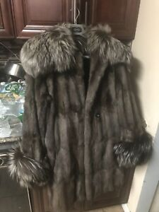 Russion Squirrel And Blue Fox Fur Coat