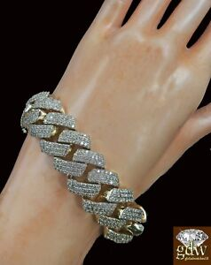 Real 10k Yellow Gold and Diamond Men's Miami Cuban Bracelet 8 Inches Box Lock.