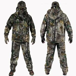 Mens Army Outdoor Bionic Camouflage Hunting Clothes Green Jacket Pants Hat suit