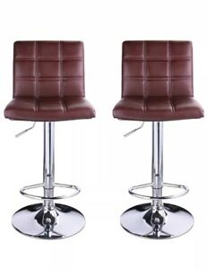 Leopard Square Back Adjustable PU Leather Bar Stool Burgundy Set Of 2 NIB