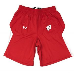New Under Armour Wisconsin Badgers Stock Fury Basketball Shorts Men's Large Red