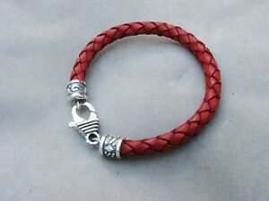Silver and Braided Bolo Leather Bracelet
