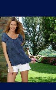 CLEO Organic Cotton Embroidery Cap Off Shoulders A-Line Top