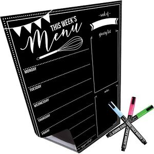 Magnetic Dry Erase Menu Board for Fridge: with Bright Neon Chalk Markers 16x12