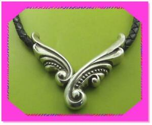 BRIGHTON VINTAGE WING Scroll Black Leather Cord Silver NECKLACE NWotag HTF