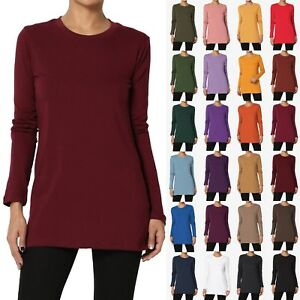 TheMogan S 3XL Crew Neck Long Sleeve Top Stretch Cotton Span Slim Fit T Shirt $12.99