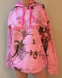 Realtree Sweater Women Pink Hunting Performance Camo Hoodie Fleece Pullover NEW